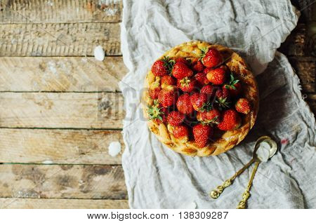 Homemade Cherry And Strawberry  Pie On Rustic Background. Delici