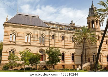 ADELAIDE, AUSTRALIA - APRIL, 2016: Facade of Mortlock Library at the front of South Australian Museum in Adelaide, South Australia on April 18, 2016. It is part of State Library of South Australia