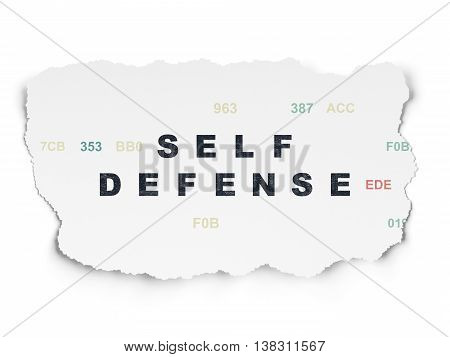 Protection concept: Painted black text Self Defense on Torn Paper background with  Hexadecimal Code