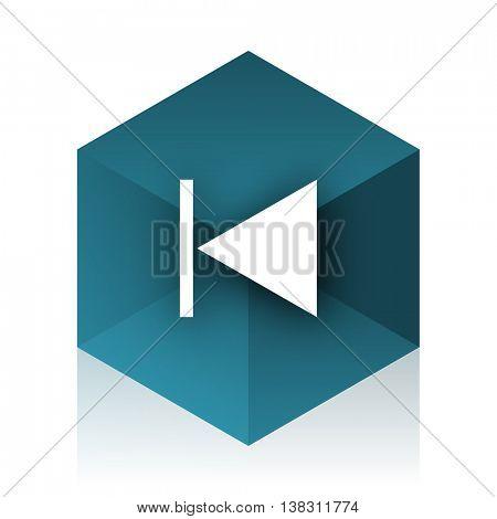 prev blue cube icon, modern design web element