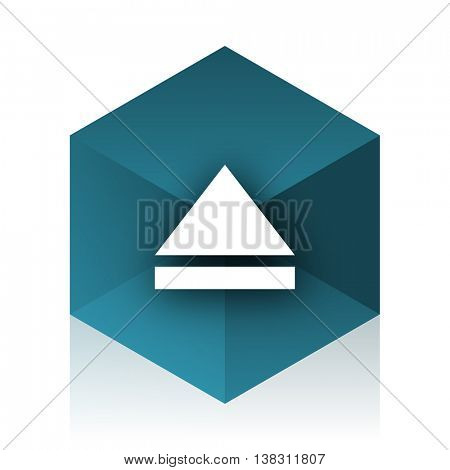 eject blue cube icon, modern design web element