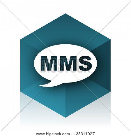 mms blue cube icon, modern design web element