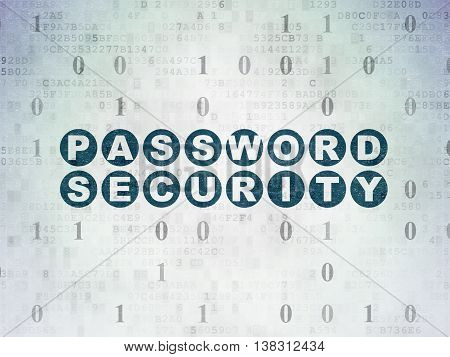 Privacy concept: Painted blue text Password Security on Digital Data Paper background with Binary Code