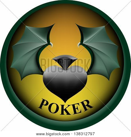 logotype for the poker club in the form of pique with wings