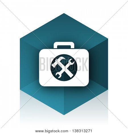 toolkit blue cube icon, modern design web element