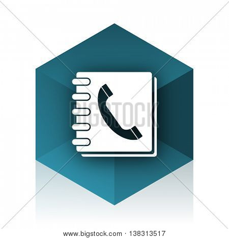 phonebook blue cube icon, modern design web element