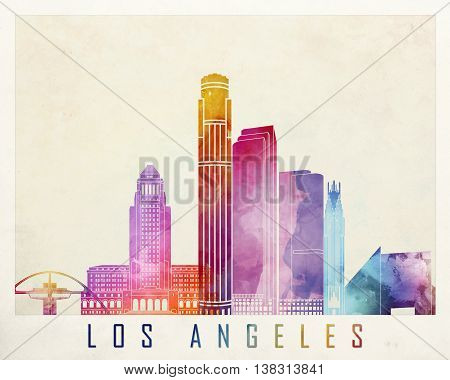 Los Angeles landmarks in artistic watercolor poster