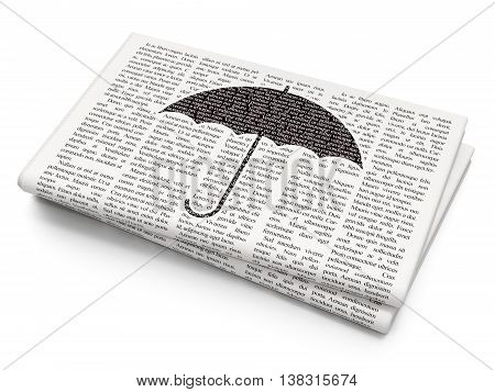 Protection concept: Pixelated black Umbrella icon on Newspaper background, 3D rendering