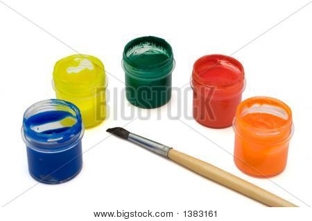 Paintbrush And Multicolored Paints