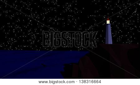 cgi low poly light house at night