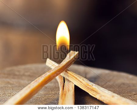 yellow fireball and burning kindling on wood