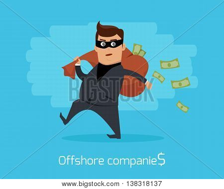 Offshore companies concept vector. Flat design. Financial crime, tax evasion, money laundering, political corruption illustration. Man in a business suit, in mask carrying a bag of money on back.
