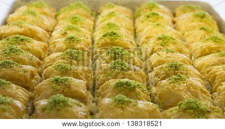 Slim classic pistachio baklava filo pastry prepared from