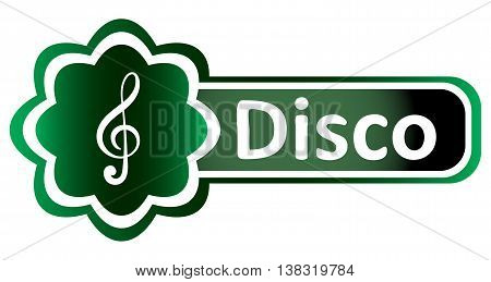 Double icon with a symbol of a treble clef and inscription disco