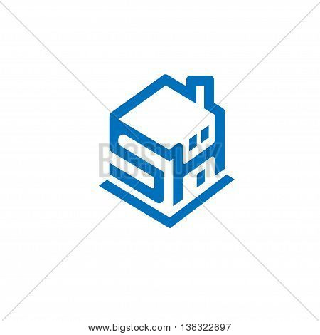 Smart home with SH letter concept logo