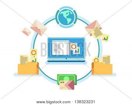 Electronic document management. Data digital file, system storage, computer archive, information database, order catalog, flat vector illustration poster