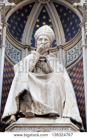 FLORENCE, ITALY - JUNE 05: St. Antoninus(Antonio Pierozzi, the Archbishop of Florence), Portal of Cattedrale di Santa Maria del Fiore (Cathedral of Saint Mary of the Flower), Florence, on June 05,2015