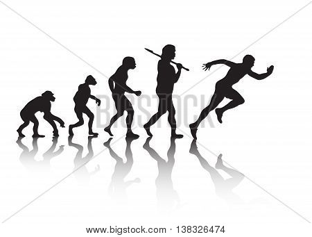 Human evolution. Man runs. Isolated on white background. Vector illustration
