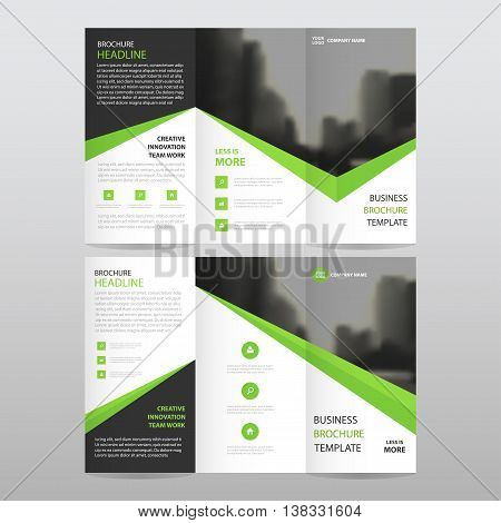 Green black triangle business trifold Leaflet Brochure Flyer report template vector minimal flat design set abstract three fold presentation layout templates a4 size