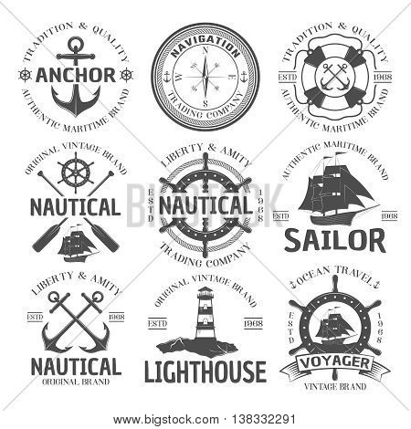 Nautical emblem set with anchor authentic maritime brand navigation trading company nautical original vintage brand descriptions vector illustration