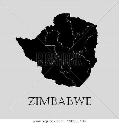 Black Zimbabwe map on light grey background. Black Zimbabwe map - vector illustration.
