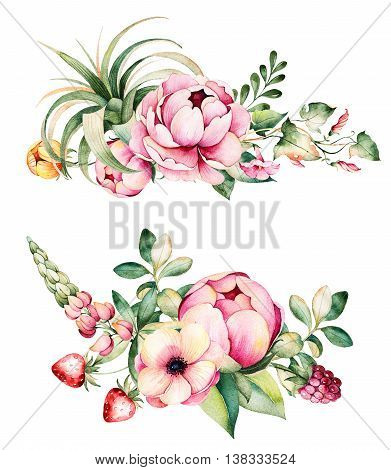 Colorful floral collection with flower, peonies, leaves, field bindweed, branches, lupin, air plant, strawberry and more.