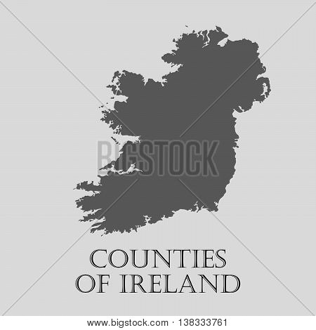 Gray Counties of Ireland map on light grey background. Gray Counties of Ireland map - vector illustration.