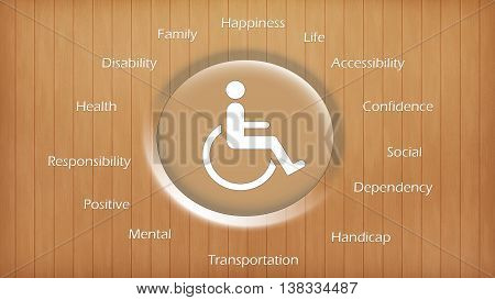 Physically disabled international symbol and written background