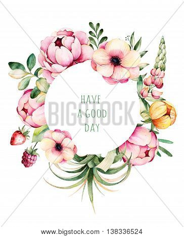 Beautiful watercolor round frame border with peony, field bindweed, branches, lupin, air plant, strawberry.