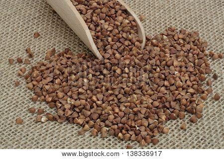buckwheat strewn with wooden spoon on jute
