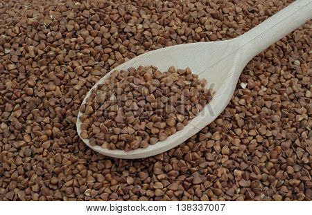 scattered buckwheat and bright large wooden spoon
