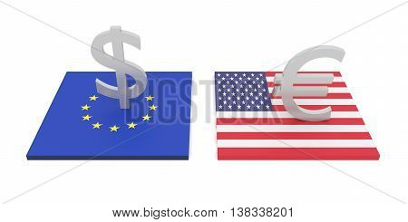transatlantic investment EU and USA 3d illustration