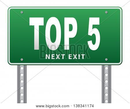 top 5 charts list pop poll result and award winners chart ranking music hits best top five quality rating prize winner road sign billboard, 3D illustration, isolated, on white