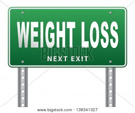 weight loss lose extra pounds by sport or dieting losing kilos road sign billboard, 3D illustration, isolated, on white