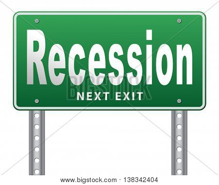 Recession crisis bank and stock crash economic and financial bank recession market crash, road sign billboard. 3D illustration, isolated, on white