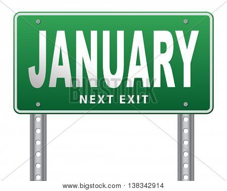 January the first month of the next year in winter season road sign billboard 3D illustration, isolated, on white