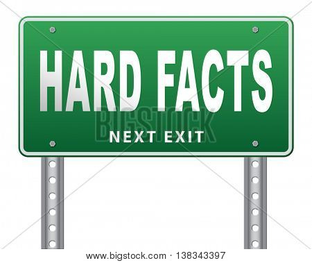 hard facts or proof, scientific proven fact, road sign billboard. 3D illustration, isolated, on white