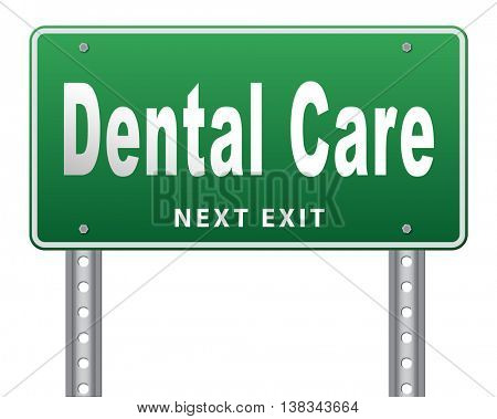 Dental care center oral hygiene or surgery for healthy teeth without caries but with a beautiful smile with text, road sign billboard. 3D illustration, isolated, on white