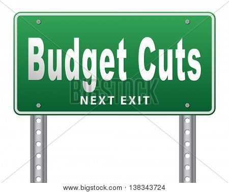 Budget cuts reduce costs and cut spendings during crisis or economic recession 3D illustration, isolated, on white