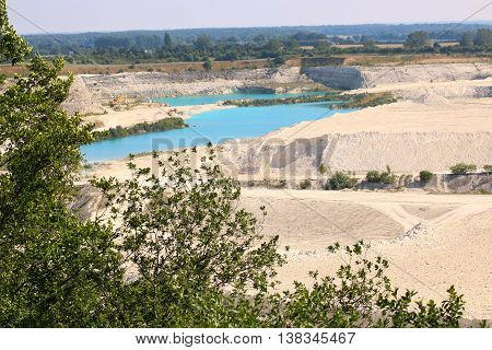 Quarry in Denmark Faxe blue lake wiew