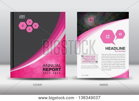Pink and black Annual report template cover design brochure flyer booklet portfolio Leaflet presentation book catalogs newsletter butterfly magazine ads
