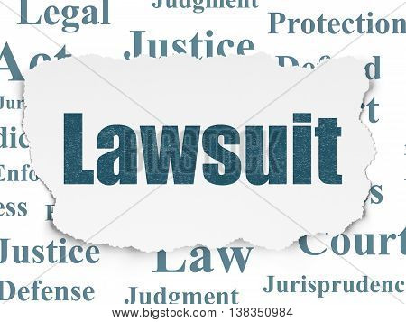 Law concept: Painted blue text Lawsuit on Torn Paper background with  Tag Cloud