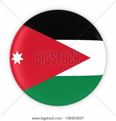 Jordanian Flag Button - Flag Of Jordan Badge 3D Illustration