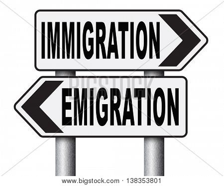 immigration or emigration political or economic migration by refugees or moving across the border by economic migrants sign 3D illustration, isolated, on white