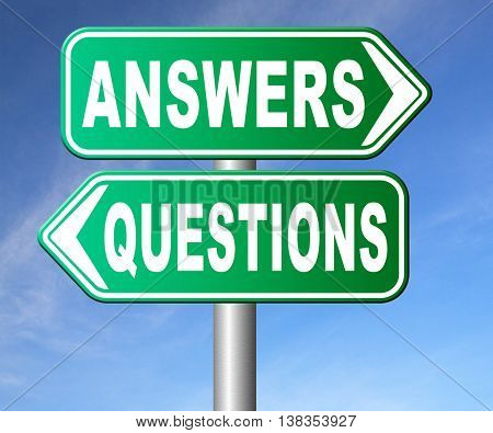 questions answers ask the right question and get an answer help or support desk solve problems and find solutions road sign 3D illustration, isolated, on white