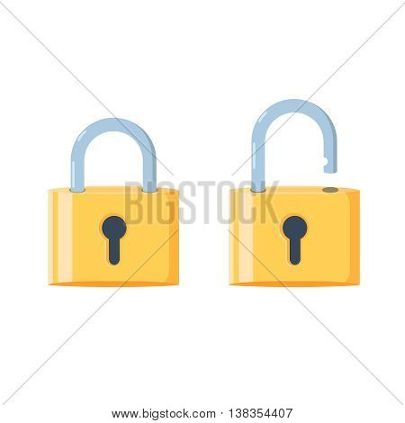 Lock icon in flat style. Lock open and lock closed. Concept password, blocking, security. Lock symbol isolated colored background.