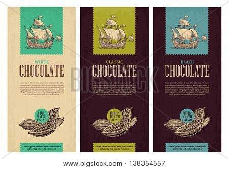 Set of label for chocolate with fruits of cocoa beans and sailing ship floating on the sea waves. Vector vintage engraved illustration. Black on white background.