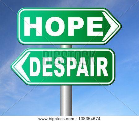 hope or despair hopeful hopeless lost losing faith or desperation 3D illustration, isolated, on white