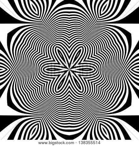 Black and White Abstract Striped Background. Vector Illustration.