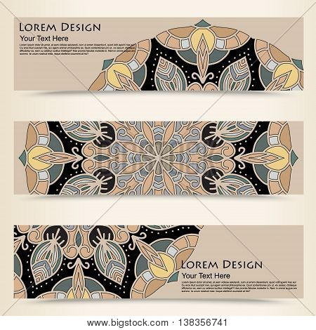 multicolored set of horizontal banners templates with tribal pattern. Vector illustration